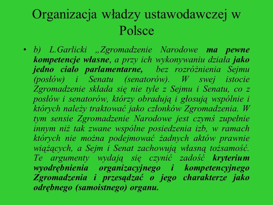 Organizacja władzy ustawodawczej w Polsce b) L.Garlicki Zgromadzenie Narodowe ma pewne kompetencje własne, a przy ich wykonywaniu działa jako jedno ci