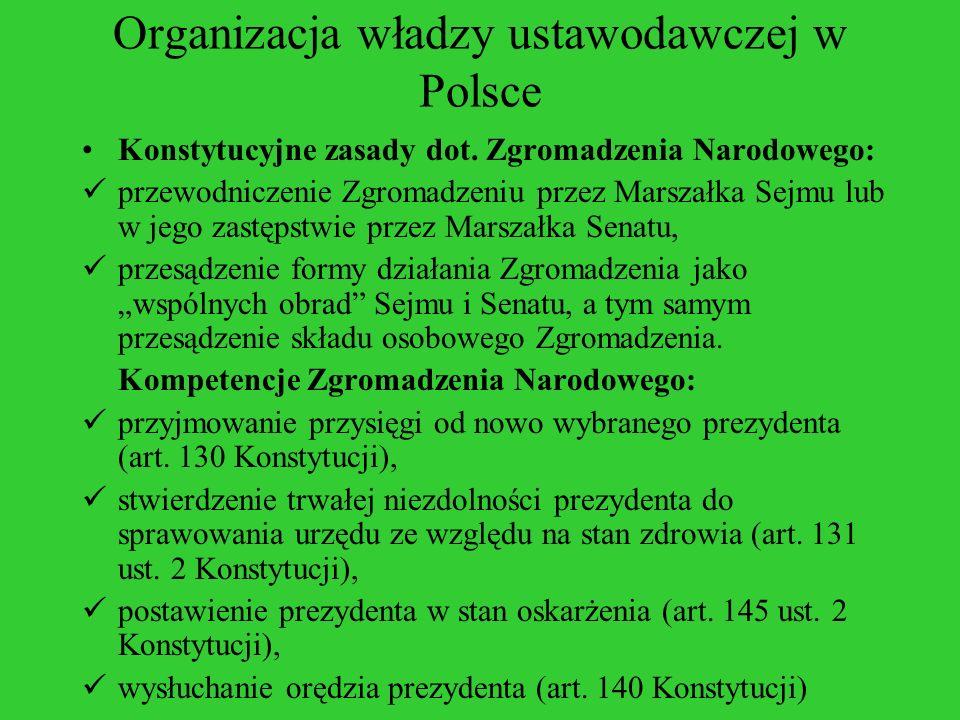 Organizacja władzy ustawodawczej w Polsce Konstytucyjne zasady dot. Zgromadzenia Narodowego: przewodniczenie Zgromadzeniu przez Marszałka Sejmu lub w