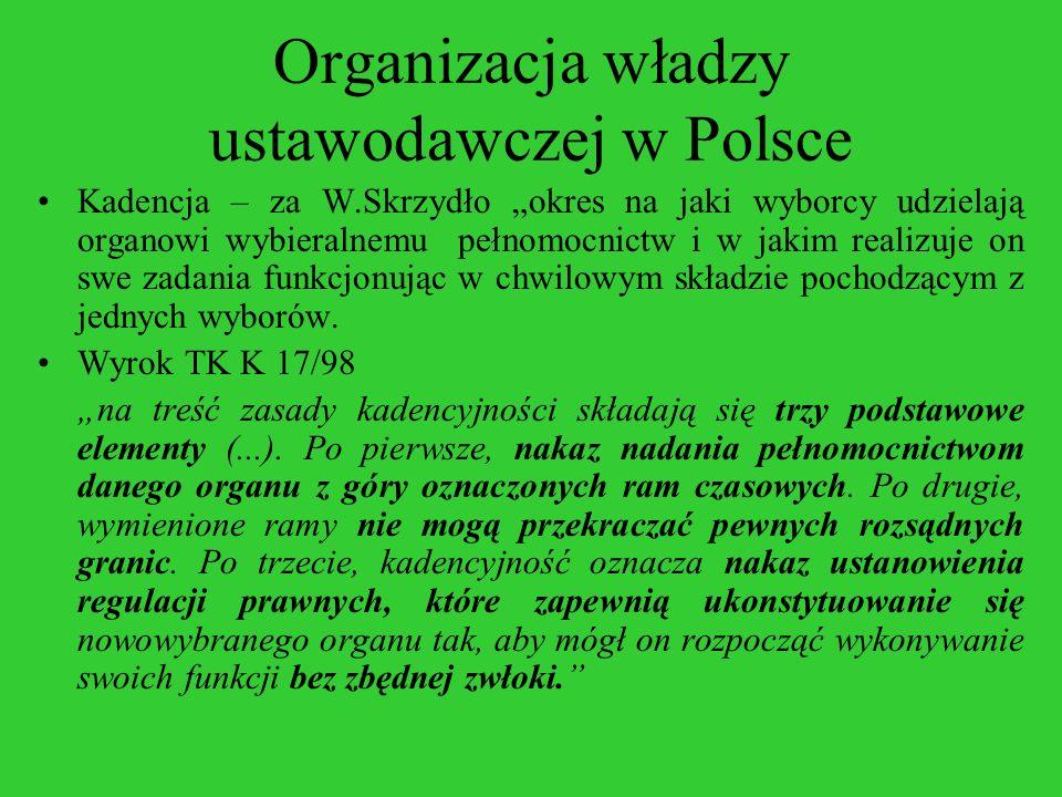 Organizacja władzy ustawodawczej w Polsce Kadencja – za W.Skrzydło okres na jaki wyborcy udzielają organowi wybieralnemu pełnomocnictw i w jakim reali
