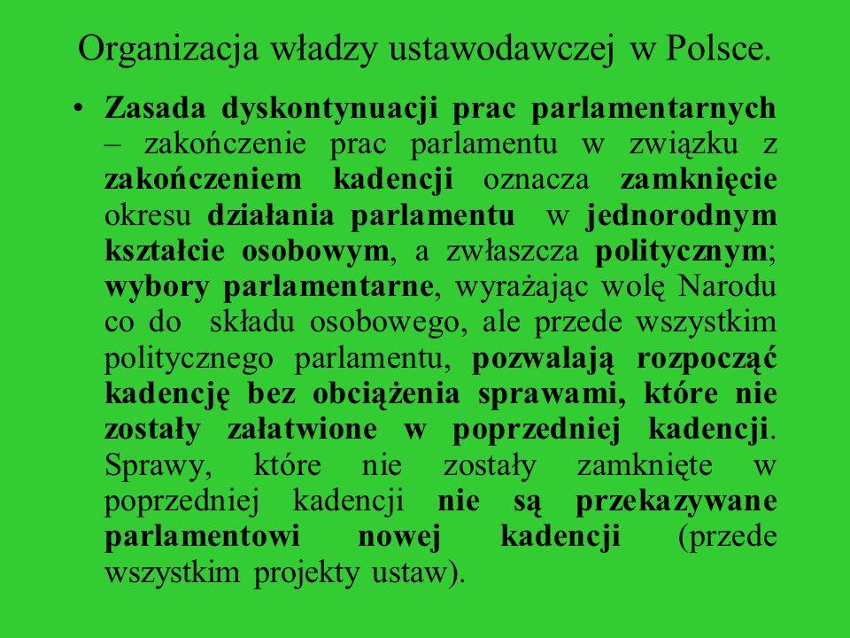 Organizacja władzy ustawodawczej w Polsce. Zasada dyskontynuacji prac parlamentarnych – zakończenie prac parlamentu w związku z zakończeniem kadencji
