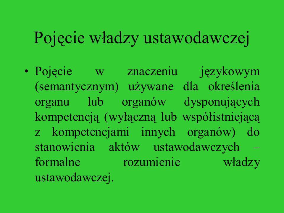 Pojęcie władzy ustawodawczej Pojęcie w znaczeniu językowym (semantycznym) używane dla określenia organu lub organów dysponujących kompetencją (wyłączn