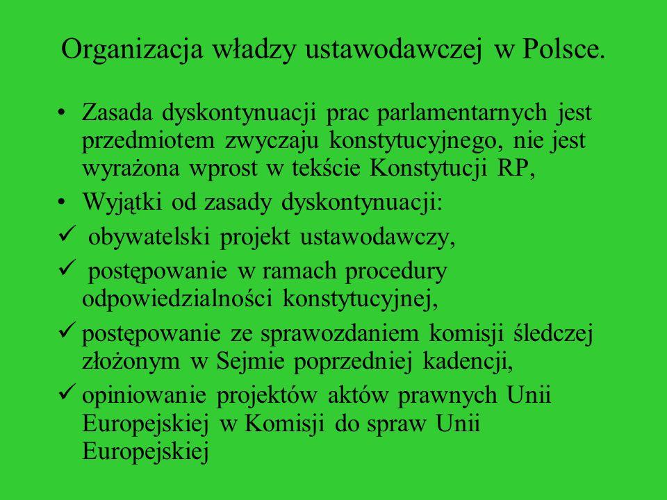 Organizacja władzy ustawodawczej w Polsce. Zasada dyskontynuacji prac parlamentarnych jest przedmiotem zwyczaju konstytucyjnego, nie jest wyrażona wpr