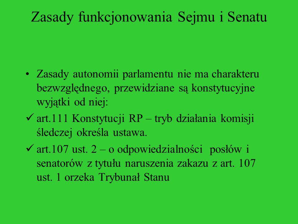 Zasady funkcjonowania Sejmu i Senatu Zasady autonomii parlamentu nie ma charakteru bezwzględnego, przewidziane są konstytucyjne wyjątki od niej: art.1