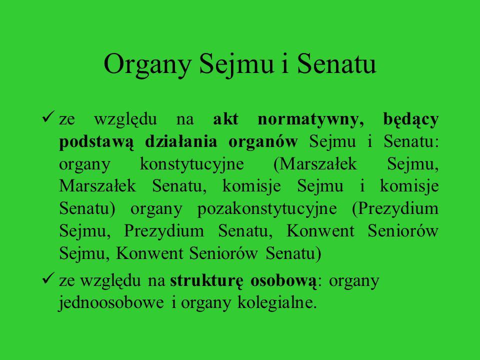 Organy Sejmu i Senatu ze względu na akt normatywny, będący podstawą działania organów Sejmu i Senatu: organy konstytucyjne (Marszałek Sejmu, Marszałek