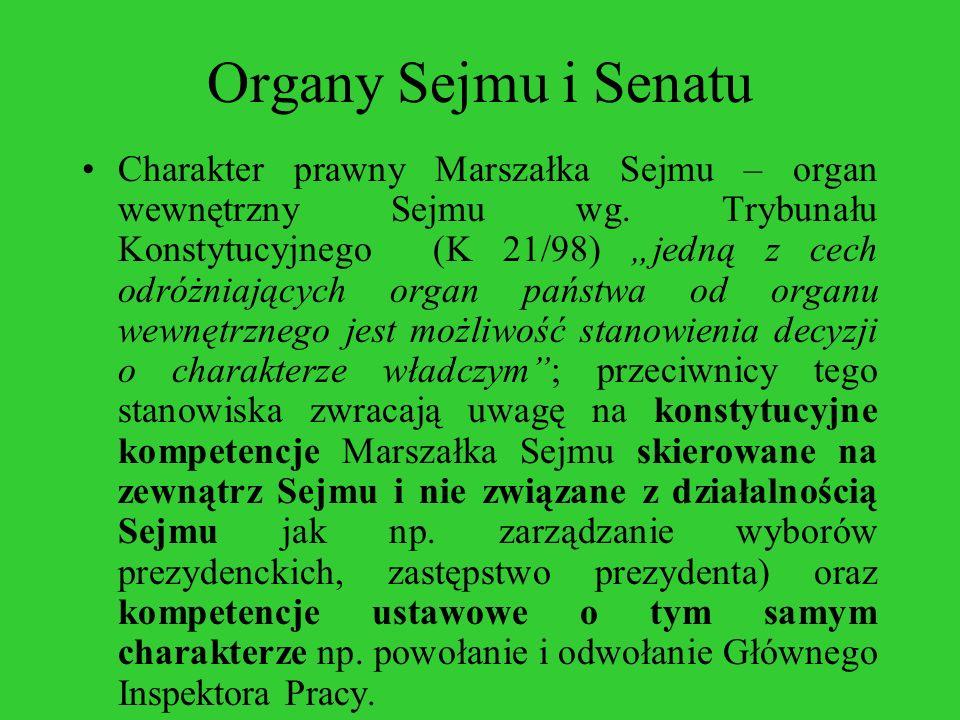 Organy Sejmu i Senatu Charakter prawny Marszałka Sejmu – organ wewnętrzny Sejmu wg. Trybunału Konstytucyjnego (K 21/98) jedną z cech odróżniających or