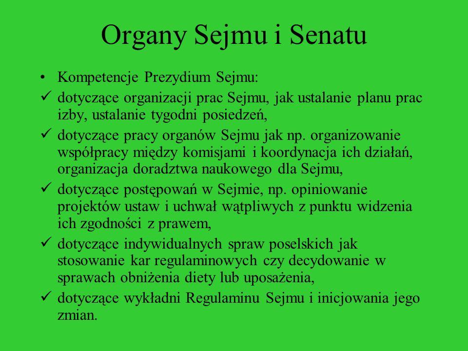 Organy Sejmu i Senatu Kompetencje Prezydium Sejmu: dotyczące organizacji prac Sejmu, jak ustalanie planu prac izby, ustalanie tygodni posiedzeń, dotyc