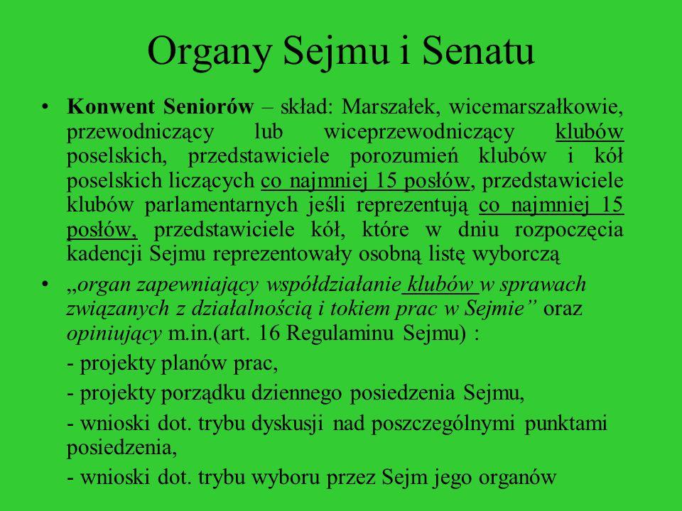 Organy Sejmu i Senatu Konwent Seniorów – skład: Marszałek, wicemarszałkowie, przewodniczący lub wiceprzewodniczący klubów poselskich, przedstawiciele