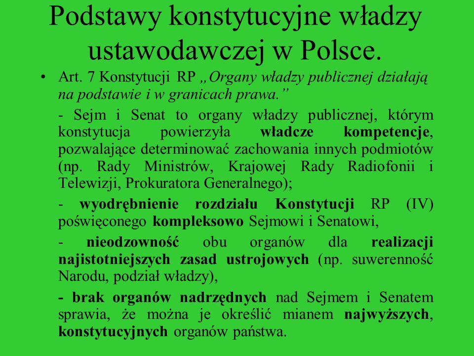 Podstawy konstytucyjne władzy ustawodawczej w Polsce. Art. 7 Konstytucji RP Organy władzy publicznej działają na podstawie i w granicach prawa. - Sejm