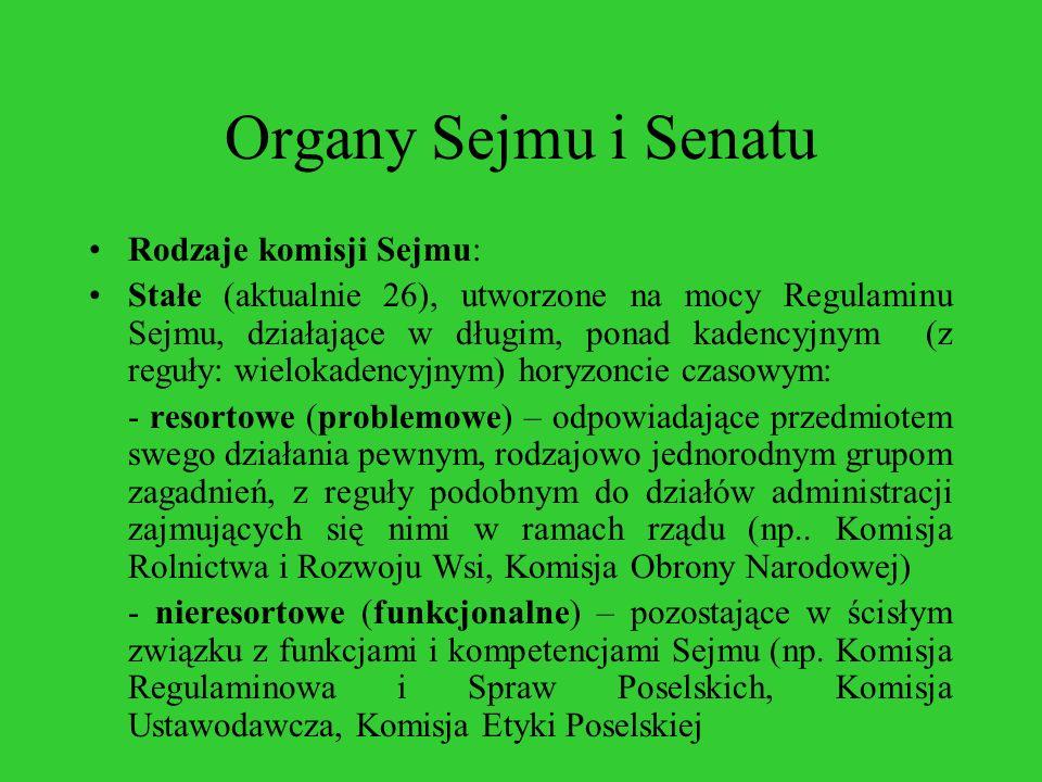 Organy Sejmu i Senatu Rodzaje komisji Sejmu: Stałe (aktualnie 26), utworzone na mocy Regulaminu Sejmu, działające w długim, ponad kadencyjnym (z reguł