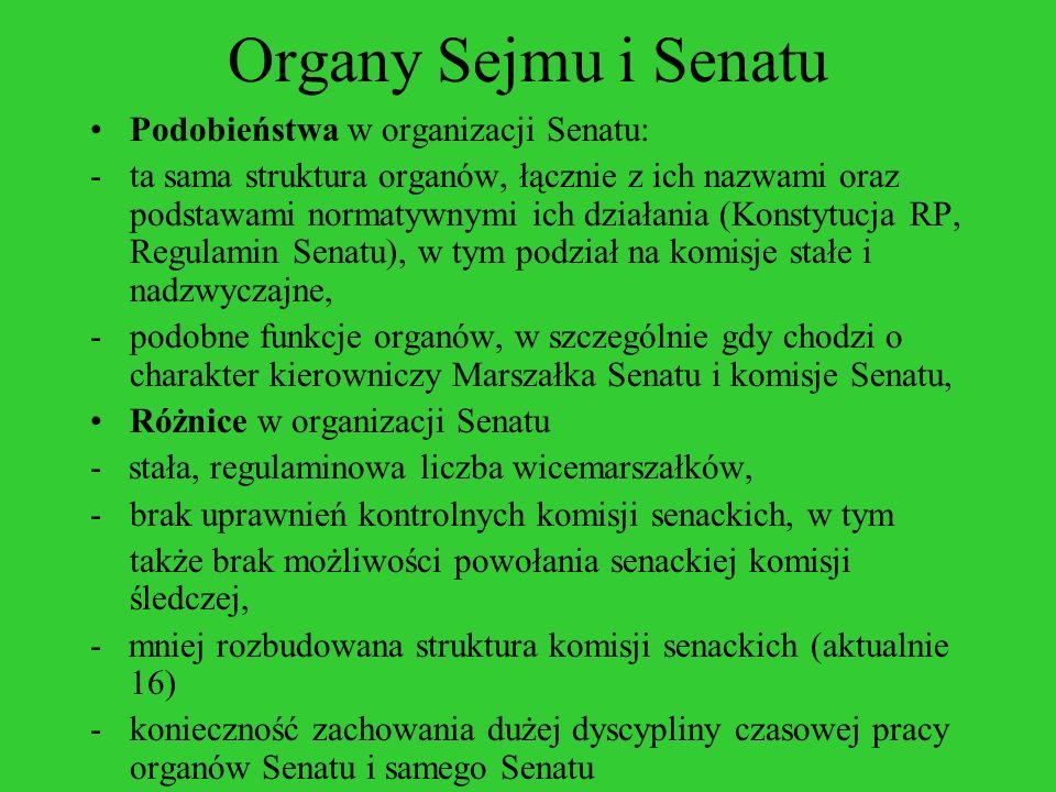 Organy Sejmu i Senatu Podobieństwa w organizacji Senatu: -ta sama struktura organów, łącznie z ich nazwami oraz podstawami normatywnymi ich działania