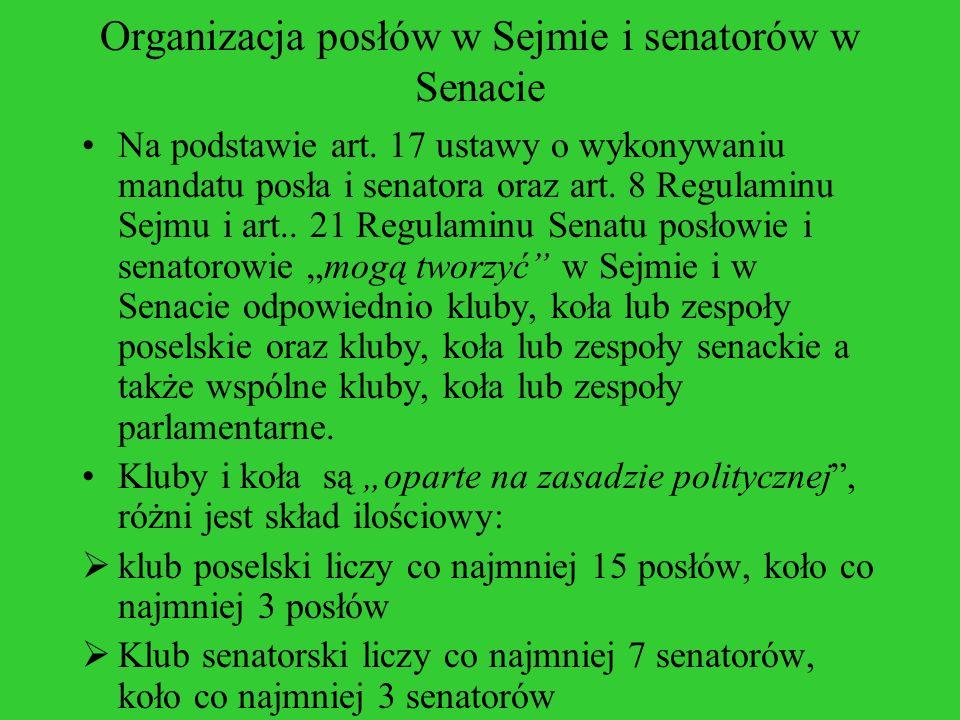 Organizacja posłów w Sejmie i senatorów w Senacie Na podstawie art. 17 ustawy o wykonywaniu mandatu posła i senatora oraz art. 8 Regulaminu Sejmu i ar
