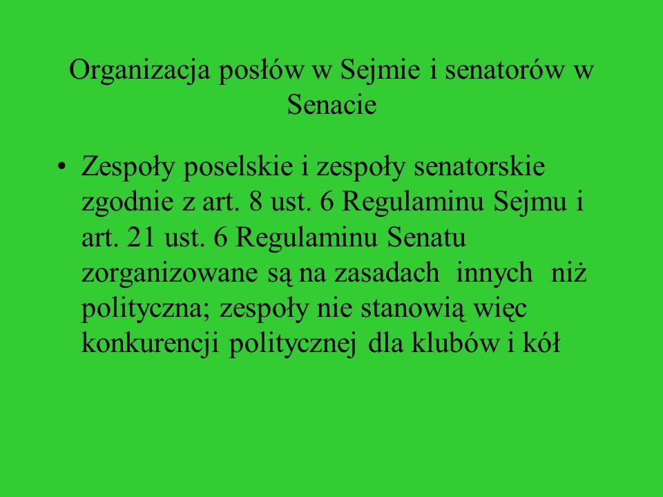 Organizacja posłów w Sejmie i senatorów w Senacie Zespoły poselskie i zespoły senatorskie zgodnie z art. 8 ust. 6 Regulaminu Sejmu i art. 21 ust. 6 Re