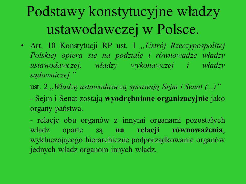 Podstawy konstytucyjne władzy ustawodawczej w Polsce. Art. 10 Konstytucji RP ust. 1 Ustrój Rzeczypospolitej Polskiej opiera się na podziale i równowad