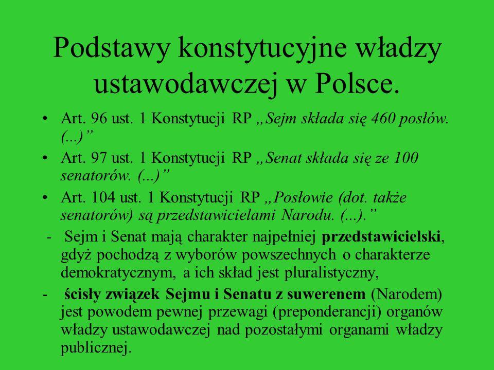Podstawy konstytucyjne władzy ustawodawczej w Polsce. Art. 96 ust. 1 Konstytucji RP Sejm składa się 460 posłów. (...) Art. 97 ust. 1 Konstytucji RP Se