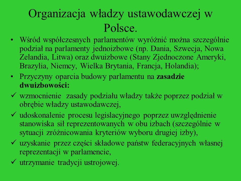 Organizacja władzy ustawodawczej w Polsce. Wśród współczesnych parlamentów wyróżnić można szczególnie podział na parlamenty jednoizbowe (np. Dania, Sz
