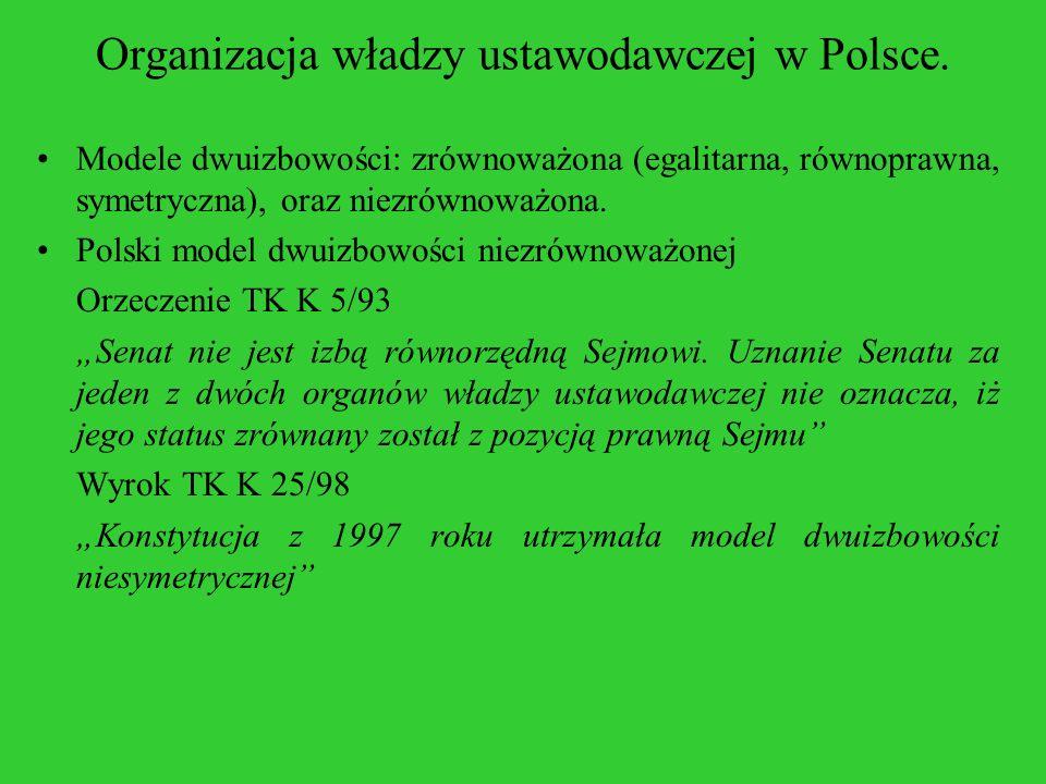 Organizacja władzy ustawodawczej w Polsce. Modele dwuizbowości: zrównoważona (egalitarna, równoprawna, symetryczna), oraz niezrównoważona. Polski mode