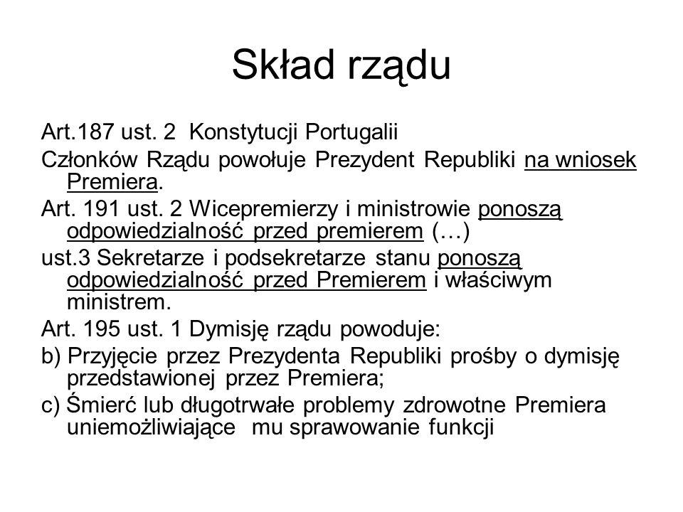 Skład rządu Art.187 ust. 2 Konstytucji Portugalii Członków Rządu powołuje Prezydent Republiki na wniosek Premiera. Art. 191 ust. 2 Wicepremierzy i min