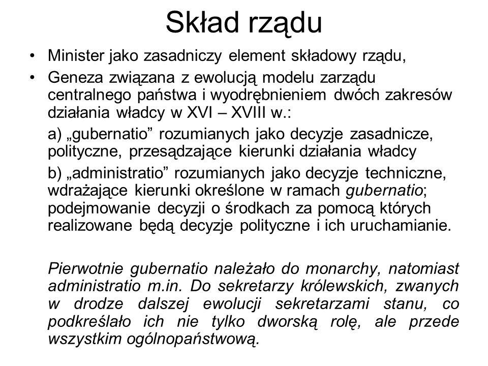 Skład rządu Minister jako zasadniczy element składowy rządu, Geneza związana z ewolucją modelu zarządu centralnego państwa i wyodrębnieniem dwóch zakr