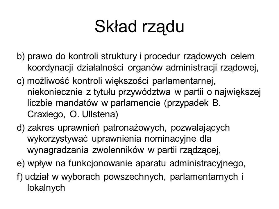 Skład rządu b) prawo do kontroli struktury i procedur rządowych celem koordynacji działalności organów administracji rządowej, c) możliwość kontroli w