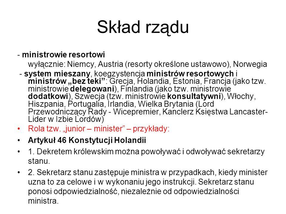 Skład rządu - ministrowie resortowi wyłącznie: Niemcy, Austria (resorty określone ustawowo), Norwegia - system mieszany, koegzystencja ministrów resor