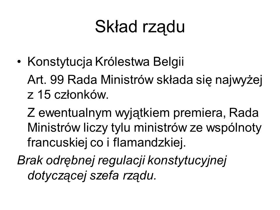 Skład rządu Konstytucja Królestwa Belgii Art. 99 Rada Ministrów składa się najwyżej z 15 członków. Z ewentualnym wyjątkiem premiera, Rada Ministrów li