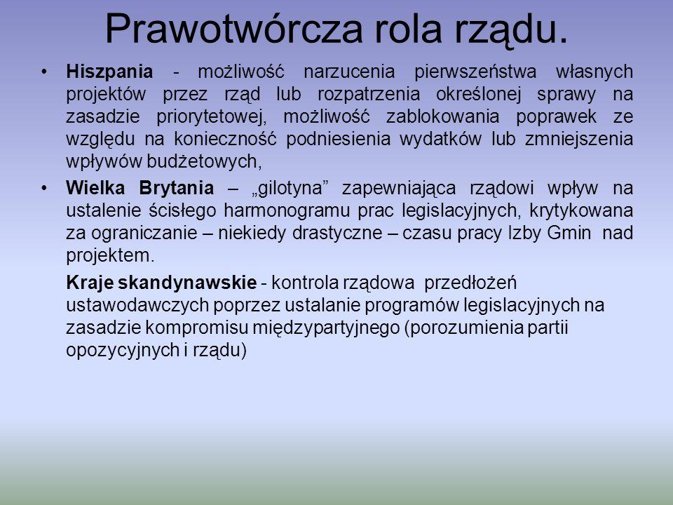 Prawotwórcza rola rządu § 2 Przepisy dotyczące statusu osobistego jednostki oraz jej stosunków osobistych i majątkowych wydawane są w formie ustawy.