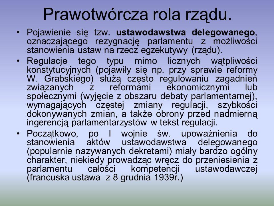 Prawotwórcza rola rządu. Pojawienie się tzw. ustawodawstwa delegowanego, oznaczającego rezygnację parlamentu z możliwości stanowienia ustaw na rzecz e