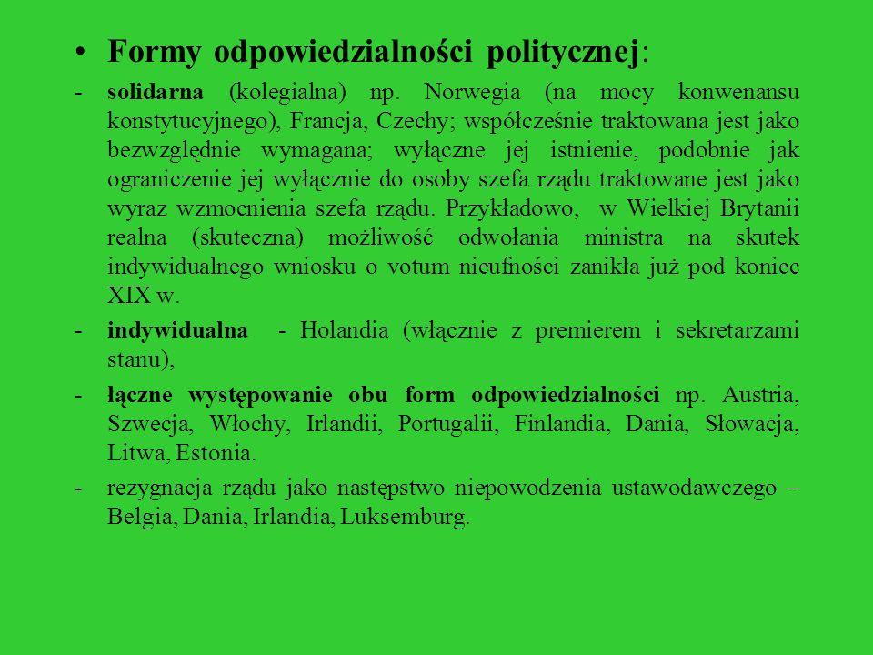 Formy odpowiedzialności politycznej: -solidarna (kolegialna) np. Norwegia (na mocy konwenansu konstytucyjnego), Francja, Czechy; współcześnie traktowa