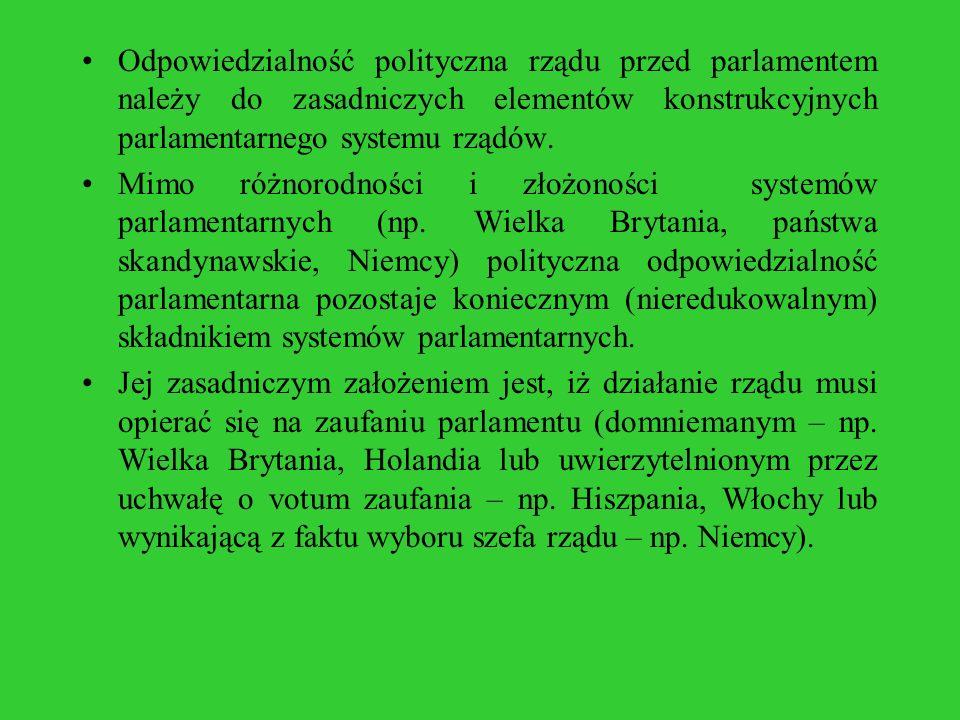 Odpowiedzialność polityczna rządu przed parlamentem należy do zasadniczych elementów konstrukcyjnych parlamentarnego systemu rządów. Mimo różnorodnośc