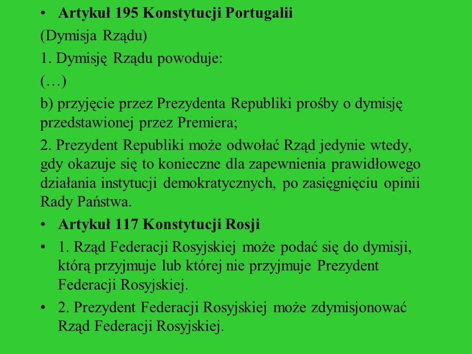 Artykuł 195 Konstytucji Portugalii (Dymisja Rządu) 1. Dymisję Rządu powoduje: (…) b) przyjęcie przez Prezydenta Republiki prośby o dymisję przedstawio