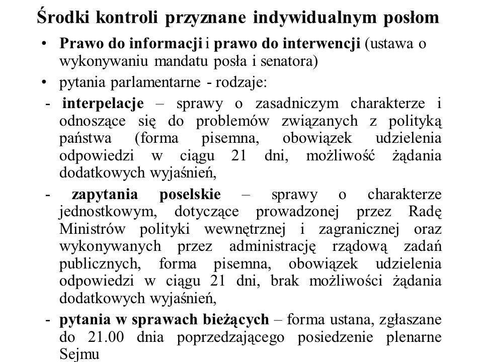 Środki kontroli przyznane indywidualnym posłom Prawo do informacji i prawo do interwencji (ustawa o wykonywaniu mandatu posła i senatora) pytania parl