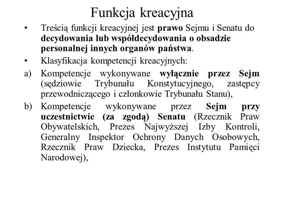 Funkcja kreacyjna Treścią funkcji kreacyjnej jest prawo Sejmu i Senatu do decydowania lub współdecydowania o obsadzie personalnej innych organów państ
