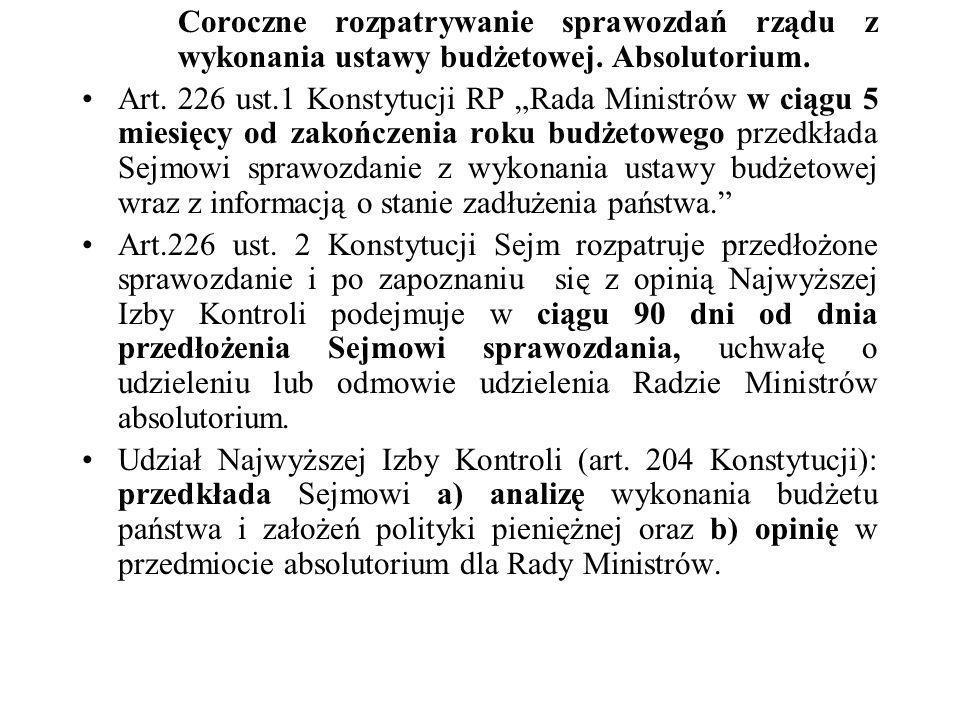 Coroczne rozpatrywanie sprawozdań rządu z wykonania ustawy budżetowej. Absolutorium. Art. 226 ust.1 Konstytucji RP Rada Ministrów w ciągu 5 miesięcy o