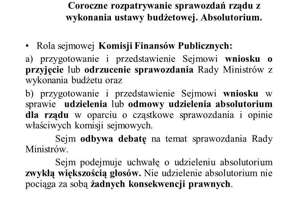 Coroczne rozpatrywanie sprawozdań rządu z wykonania ustawy budżetowej. Absolutorium. Rola sejmowej Komisji Finansów Publicznych: a) przygotowanie i pr