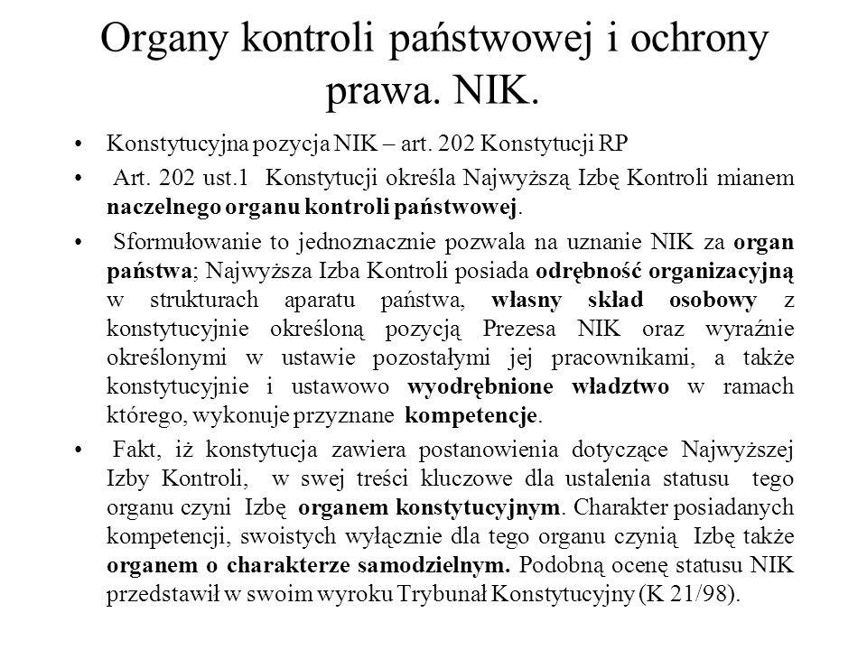 Organy kontroli państwowej i ochrony prawa.NIK. Określenie przez art.