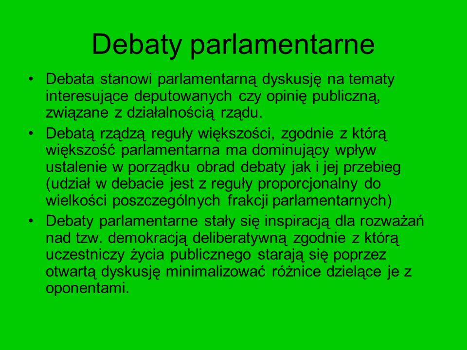 Debaty parlamentarne Debata stanowi parlamentarną dyskusję na tematy interesujące deputowanych czy opinię publiczną, związane z działalnością rządu. D