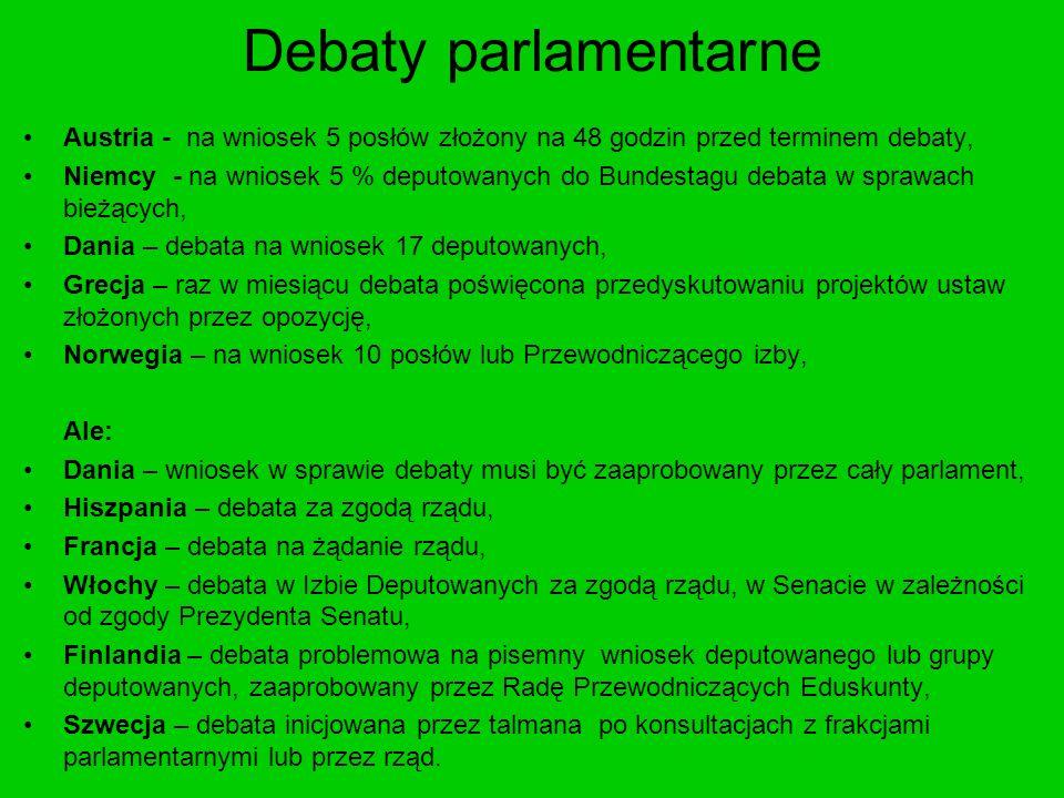 Debaty parlamentarne Austria - na wniosek 5 posłów złożony na 48 godzin przed terminem debaty, Niemcy - na wniosek 5 % deputowanych do Bundestagu deba