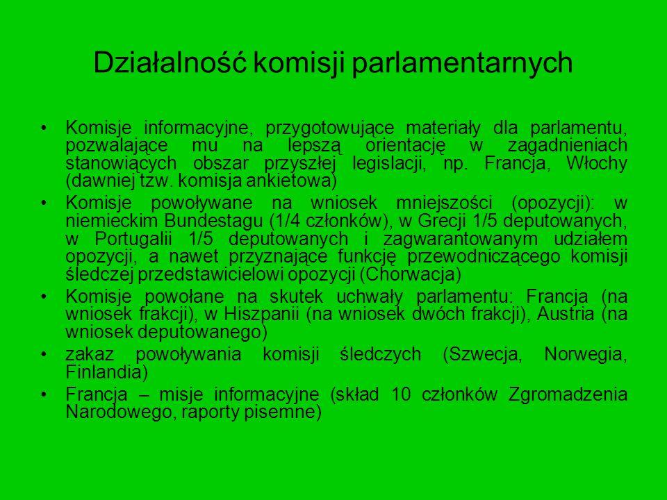 Działalność komisji parlamentarnych Komisje informacyjne, przygotowujące materiały dla parlamentu, pozwalające mu na lepszą orientację w zagadnieniach