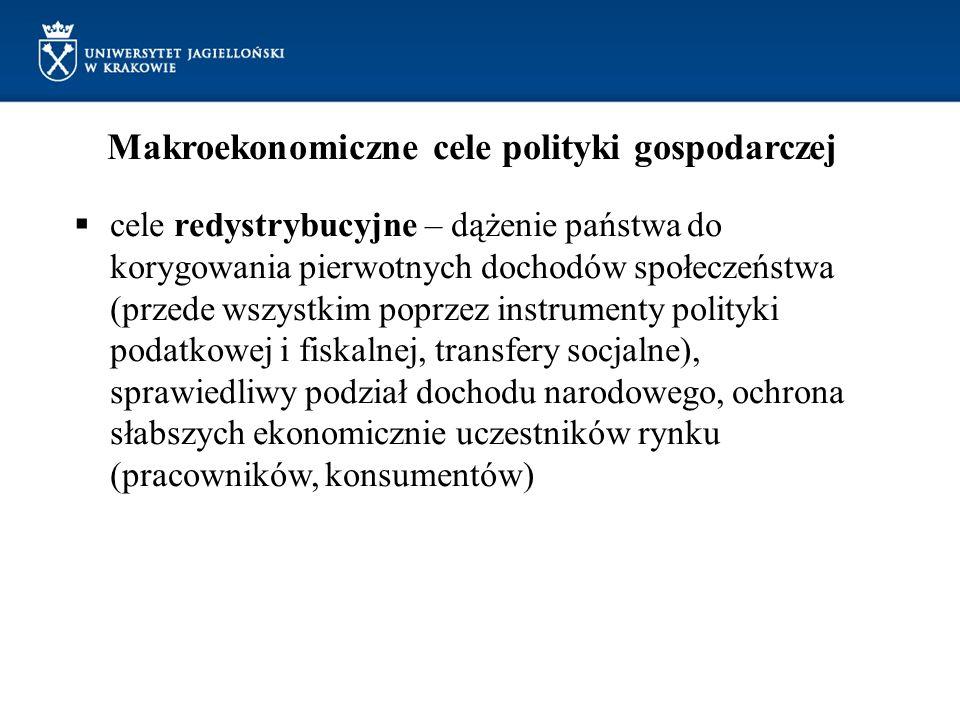 Makroekonomiczne cele polityki gospodarczej cele redystrybucyjne – dążenie państwa do korygowania pierwotnych dochodów społeczeństwa (przede wszystkim