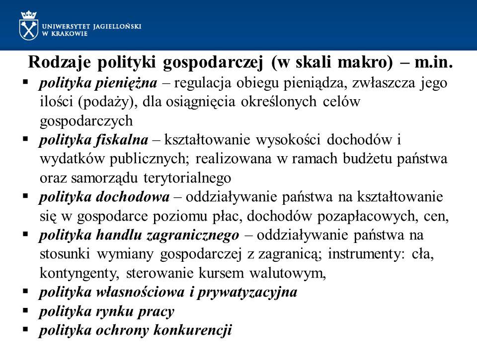 Rodzaje polityki gospodarczej (w skali makro) – m.in. polityka pieniężna – regulacja obiegu pieniądza, zwłaszcza jego ilości (podaży), dla osiągnięcia