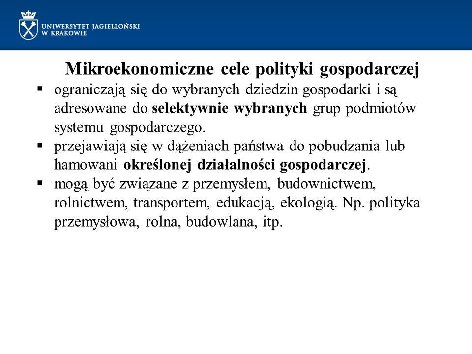 Mikroekonomiczne cele polityki gospodarczej ograniczają się do wybranych dziedzin gospodarki i są adresowane do selektywnie wybranych grup podmiotów s
