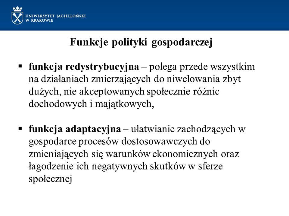 Funkcje polityki gospodarczej funkcja redystrybucyjna – polega przede wszystkim na działaniach zmierzających do niwelowania zbyt dużych, nie akceptowa