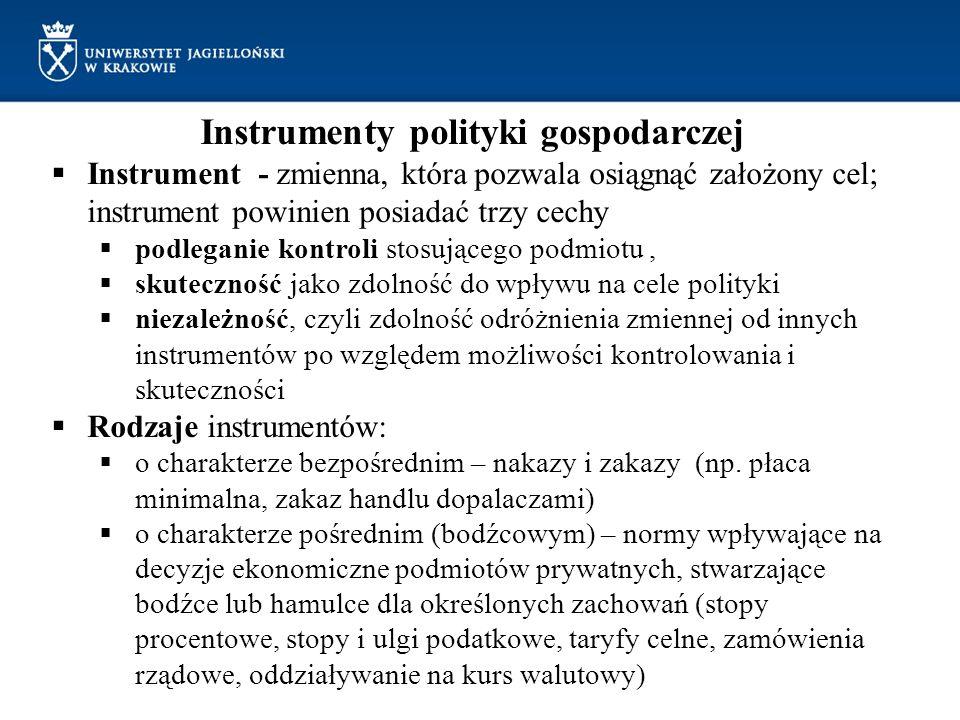 Instrumenty polityki gospodarczej Instrument - zmienna, która pozwala osiągnąć założony cel; instrument powinien posiadać trzy cechy podleganie kontro