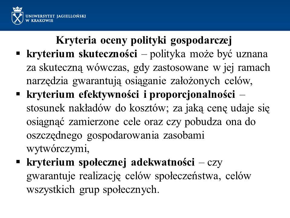 Kryteria oceny polityki gospodarczej kryterium skuteczności – polityka może być uznana za skuteczną wówczas, gdy zastosowane w jej ramach narzędzia gw