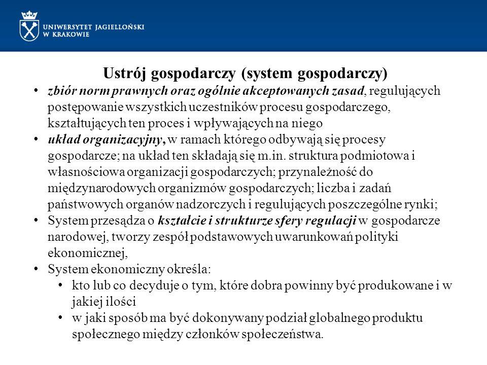 Ustrój gospodarczy (system gospodarczy) zbiór norm prawnych oraz ogólnie akceptowanych zasad, regulujących postępowanie wszystkich uczestników procesu