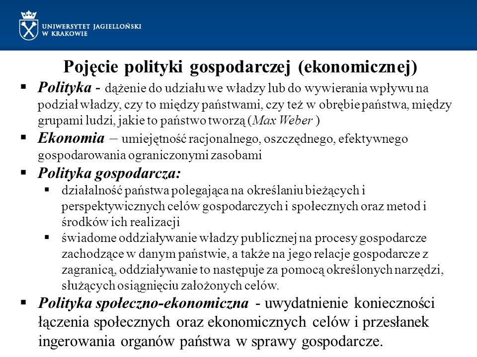 Polityka gospodarcza – pojęcie Nauka (teoria) polityki gospodarczej - dyscyplina naukowa zajmująca się badaniem form, celów, sposobów oddziaływania państwa na społeczny proces gospodarczy; metodologią przygotowywania, podejmowania i realizacji decyzji organów publicznych w zakresie oddziaływania na gospodarkę, metodami i technikami prognozowania i planowania gospodarczego; Polska nauka polityki ekonomicznej: F.