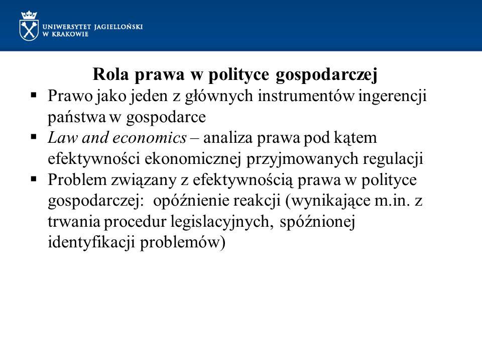 Rola prawa w polityce gospodarczej Prawo jako jeden z głównych instrumentów ingerencji państwa w gospodarce Law and economics – analiza prawa pod kąte