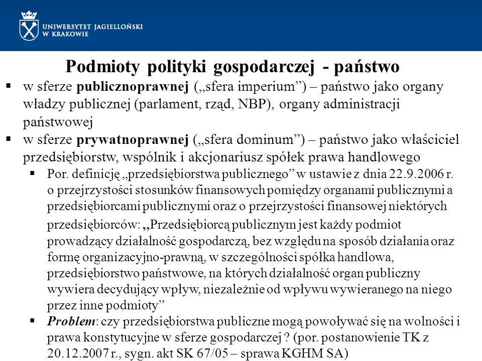 Podmioty polityki gospodarczej - państwo w sferze publicznoprawnej (sfera imperium) – państwo jako organy władzy publicznej (parlament, rząd, NBP), or