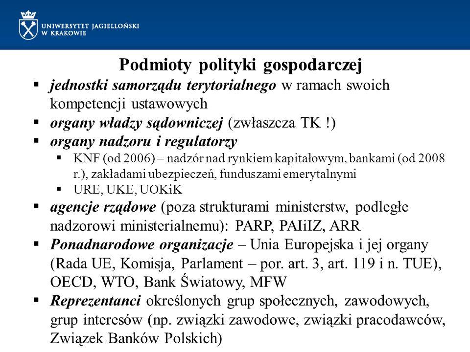 Podmioty polityki gospodarczej jednostki samorządu terytorialnego w ramach swoich kompetencji ustawowych organy władzy sądowniczej (zwłaszcza TK !) or