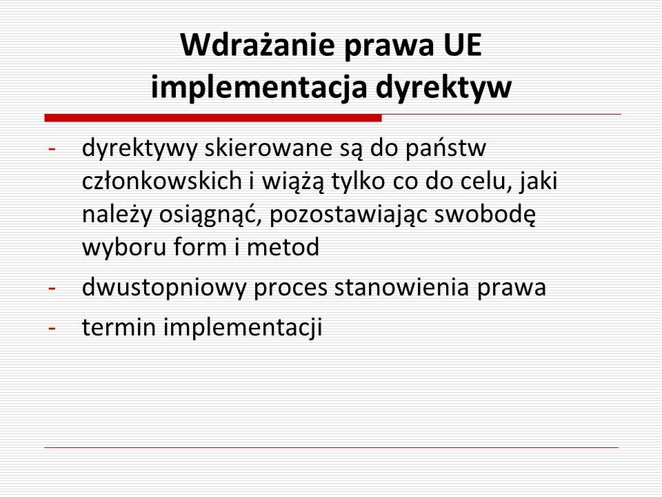 Wdrażanie prawa UE implementacja dyrektyw -dyrektywy skierowane są do państw członkowskich i wiążą tylko co do celu, jaki należy osiągnąć, pozostawiaj